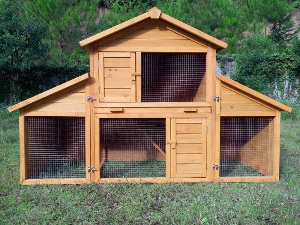 Kaninchenstall Kleintierhaus Hasenstall Kleintierkäfig Nr. 01 mit Seitenflügeln
