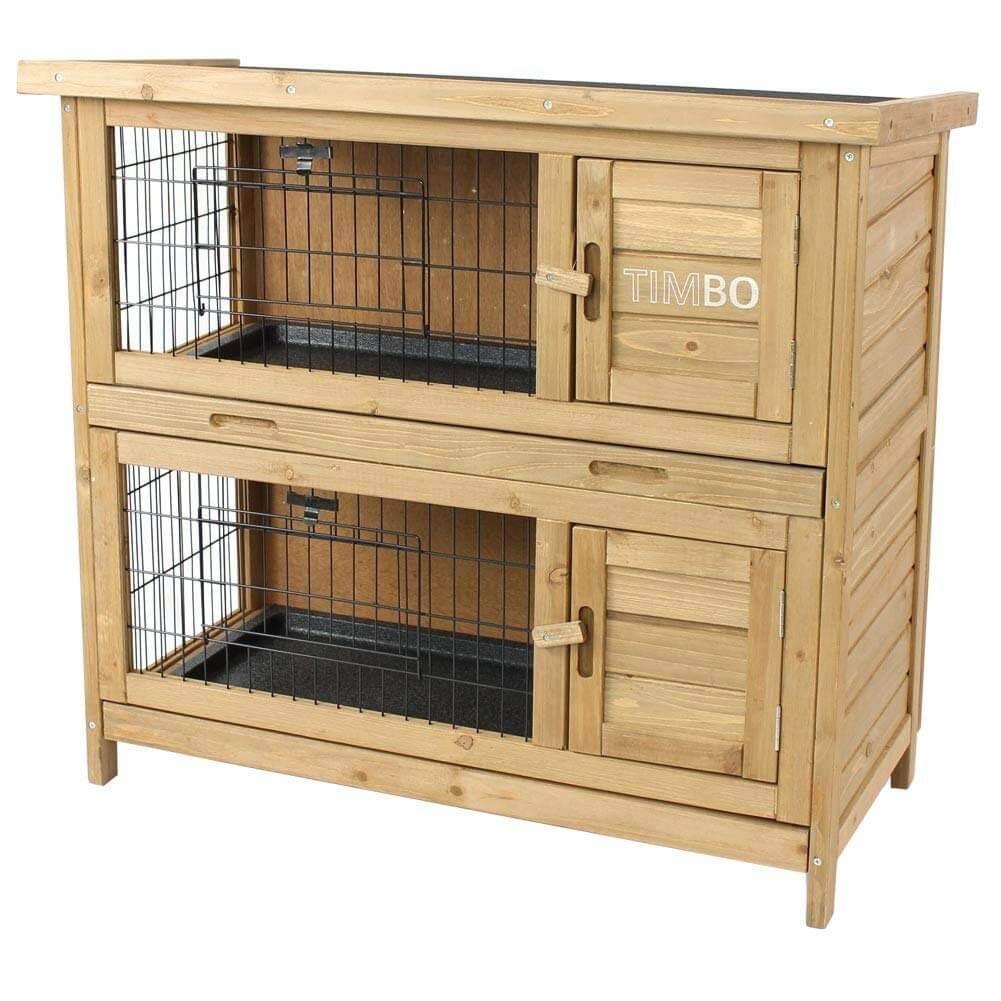 Kaninchenstall / Hasenstall EMMA auf 2 Etagen – 92x45x81 cm – Kleintier-Stall für Draußen. Der wetterfeste, doppelstöckige Stall für 2 Kaninchen – TIMBO Hasenkäfig und Hasenstall