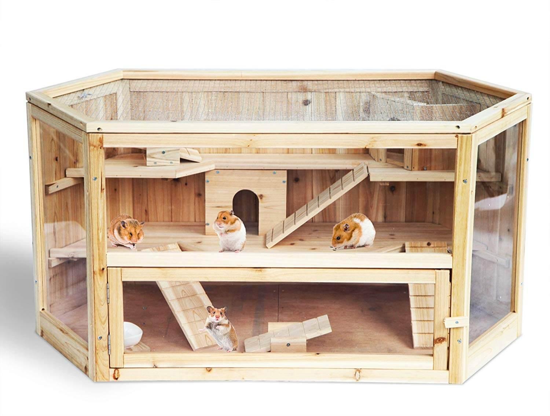 WOLTU Hamsterkäfig Nagerstall Kleintierkäfig 2 Stöckige Mäusekäfig Nagervilla